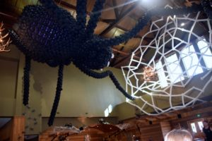A giant balloon spider at the Great Wolf Lodge Holiday Spooktacular