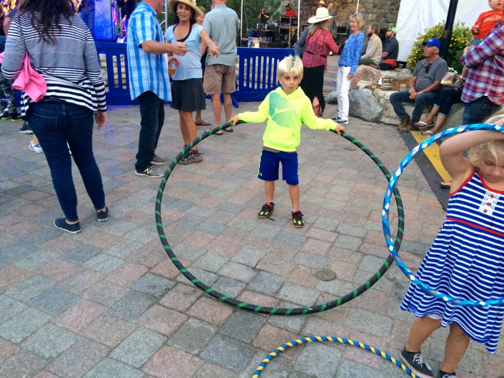 Rib Cook Off at Mammoth Village: hula hoops