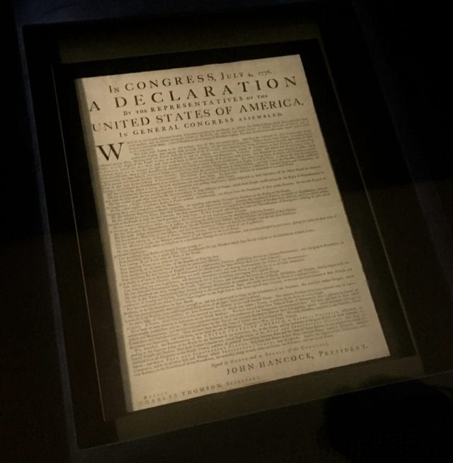 One of the original printed copies of the Declaration of Independence that was sent to the colonies is on display in the West Wing-of Independence Hall Photo by Samantha Davis-Friedman