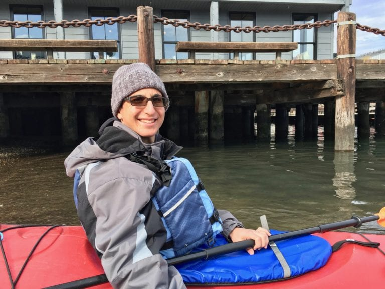 Thanks to several layers of clothing - and a kayak skirt - the cold weather was no problem - Photo by Samantha Davis-Friedman