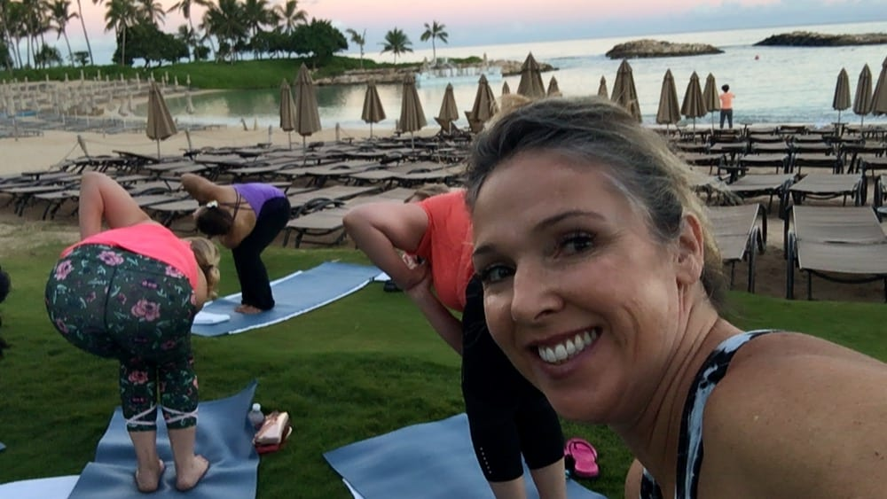 Yoga on the lawn of the Aulani, A Disney Resort and Spa
