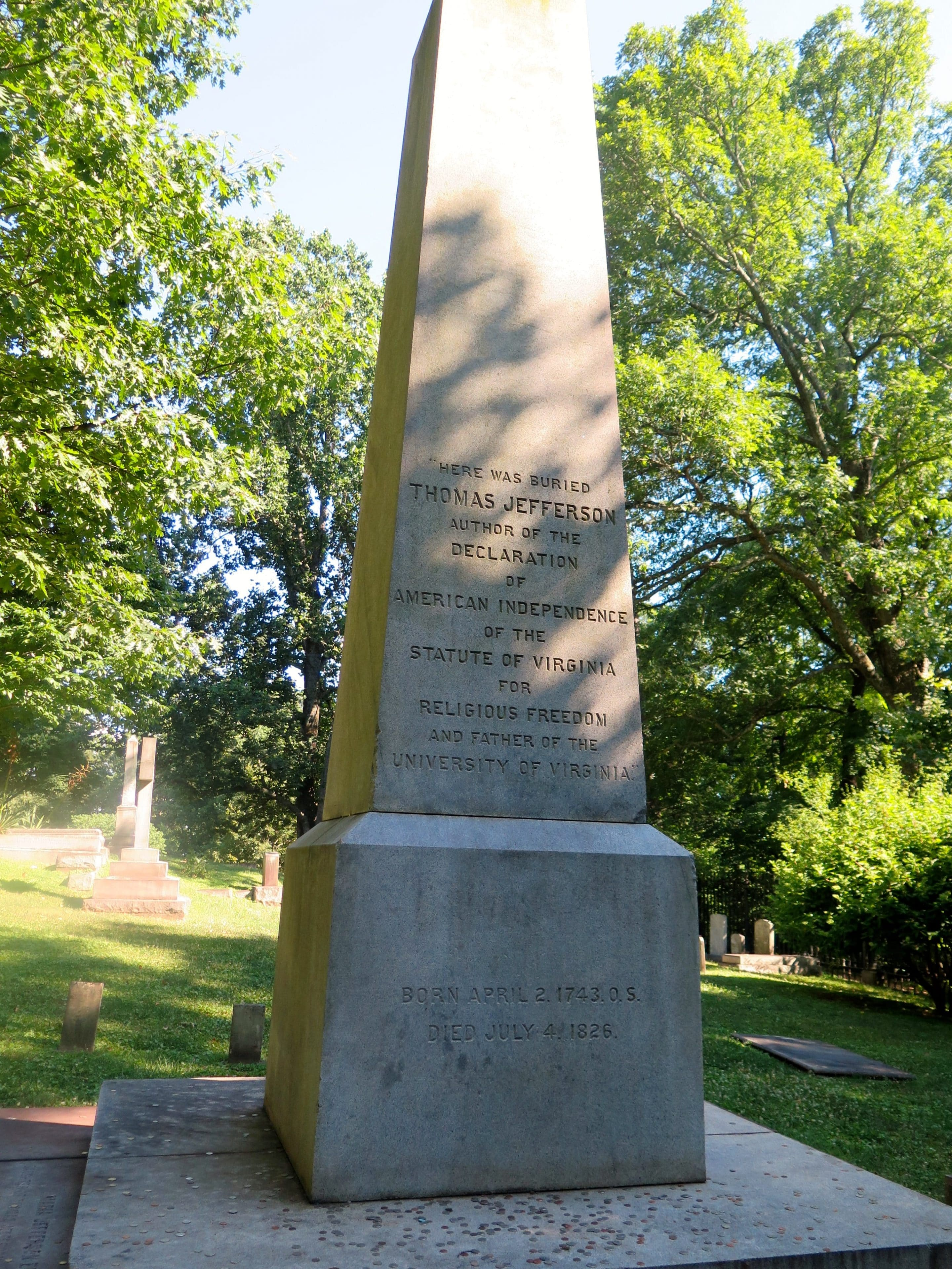 Thomas Jefferson designed his own grave marker and wrote his own epitaph - Photo by Samantha Davis-Friedman