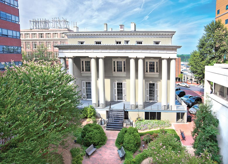 the exterior of the white house of the confederacy reflects the architecture of the civil war time period - courtesy of the american civil war museum