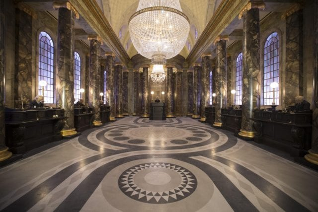 The Single Rider line for Harry Potter and the Escape from Gringotts in The Wizarding World of Harry Potter – Diagon Alley at Universal Orlando bypasses the iconic Gringotts Bank lobby - Photo courtesy of Universal Orlando Resort.
