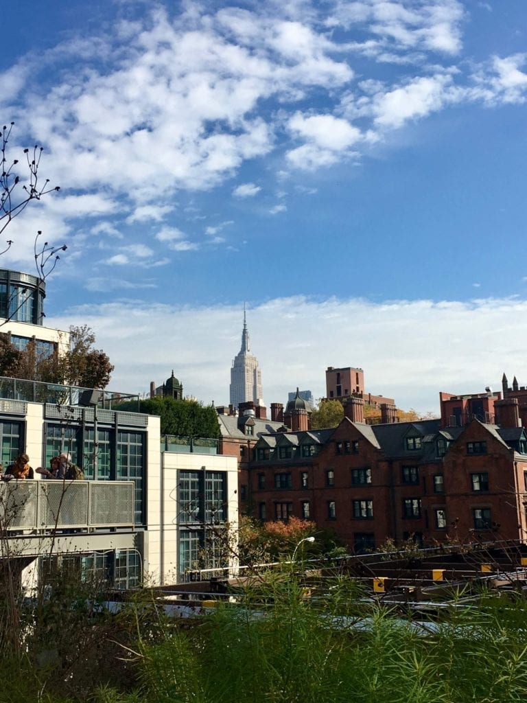 Empire State Building can be seen from the High Line peeking from above the roof tops - Photo Credit Samantha Davis-Friedman