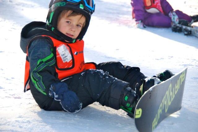 snowboarding kid at lake arrowhead winter fun