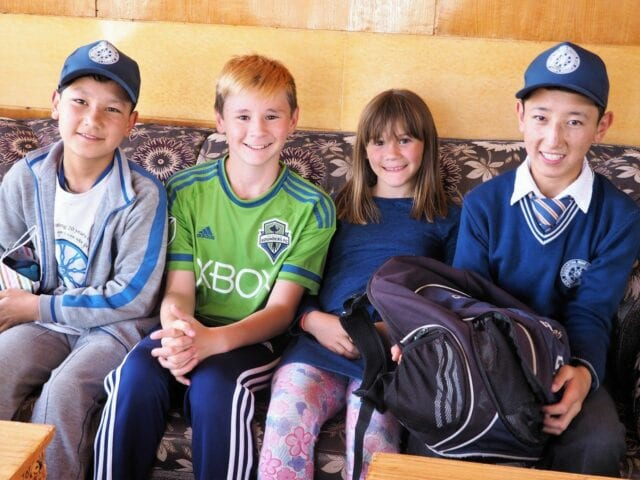 Spatz children with Stanzin on the right - volunteer family travel to India