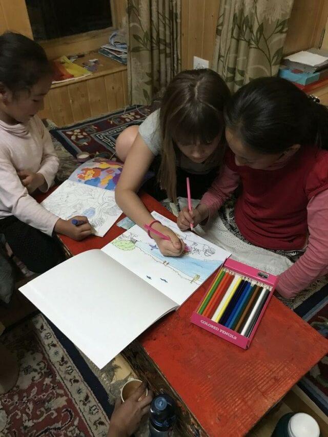 Sharing Art at Homestay - volunteer family travel to India