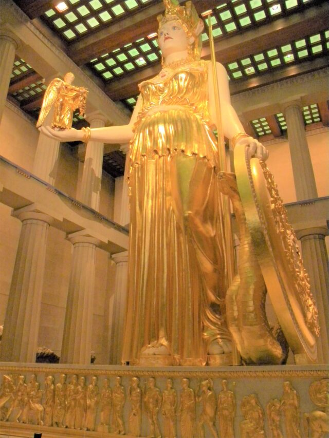 A statue of the Goddess Athena is located inside the Parthenon in Nashville, Tennessee