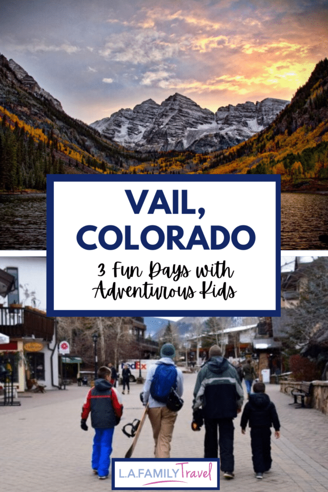 Things you must do with your kids in Vail, Colorado! Have three days, use this guide to find the best activities based on the time we took our boys skiing, snowboarding, ice-skating and snow-shoeing. The best place to stay, the Sonnenalp, for a cozy fun family trip to Vail.
