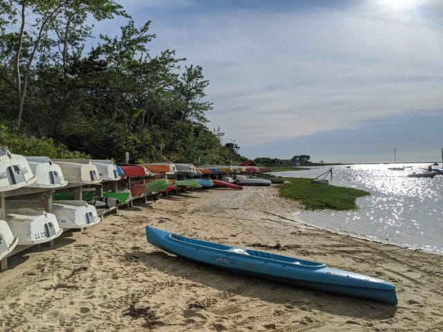 kayak and boats in Monomoy spit on Nantucket