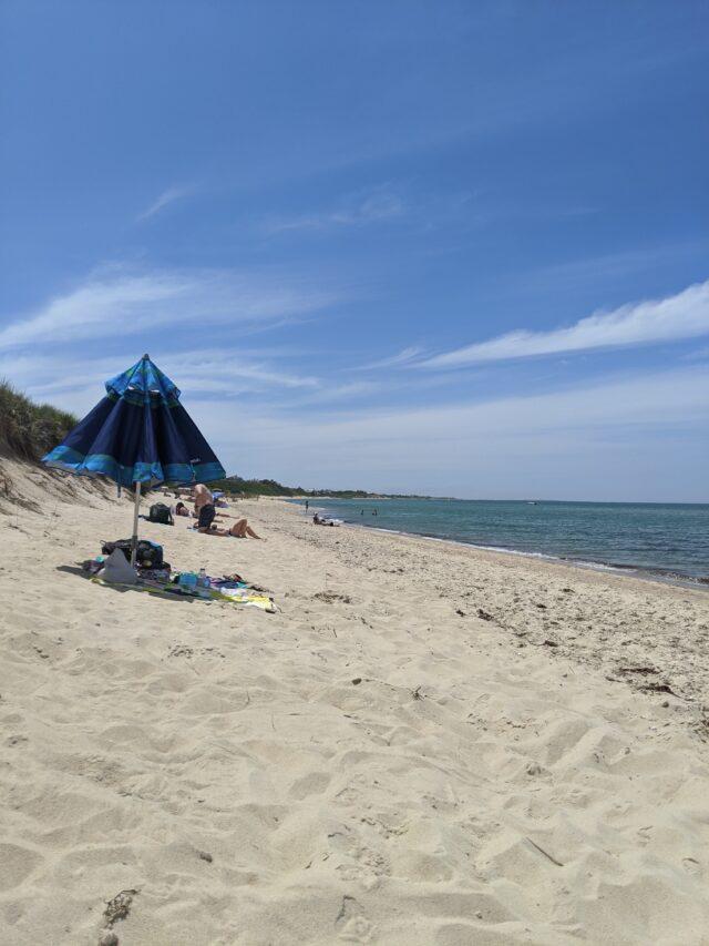 beach umbrella on Jettie's beach in Nantucket