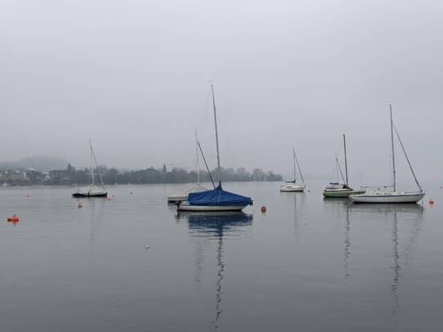 lake zurich in fog