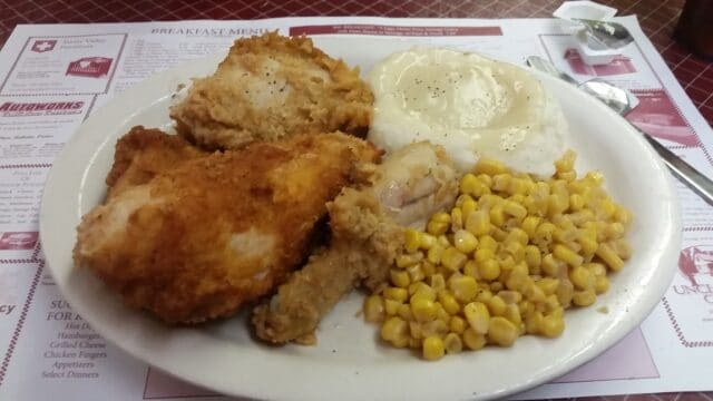 Photo of plate of Chicken, Mashed Potatoes and Corn