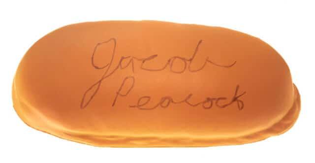 photo of signed hot dog bun