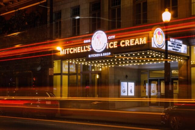 Photo of the store front for Mitchells ice cream