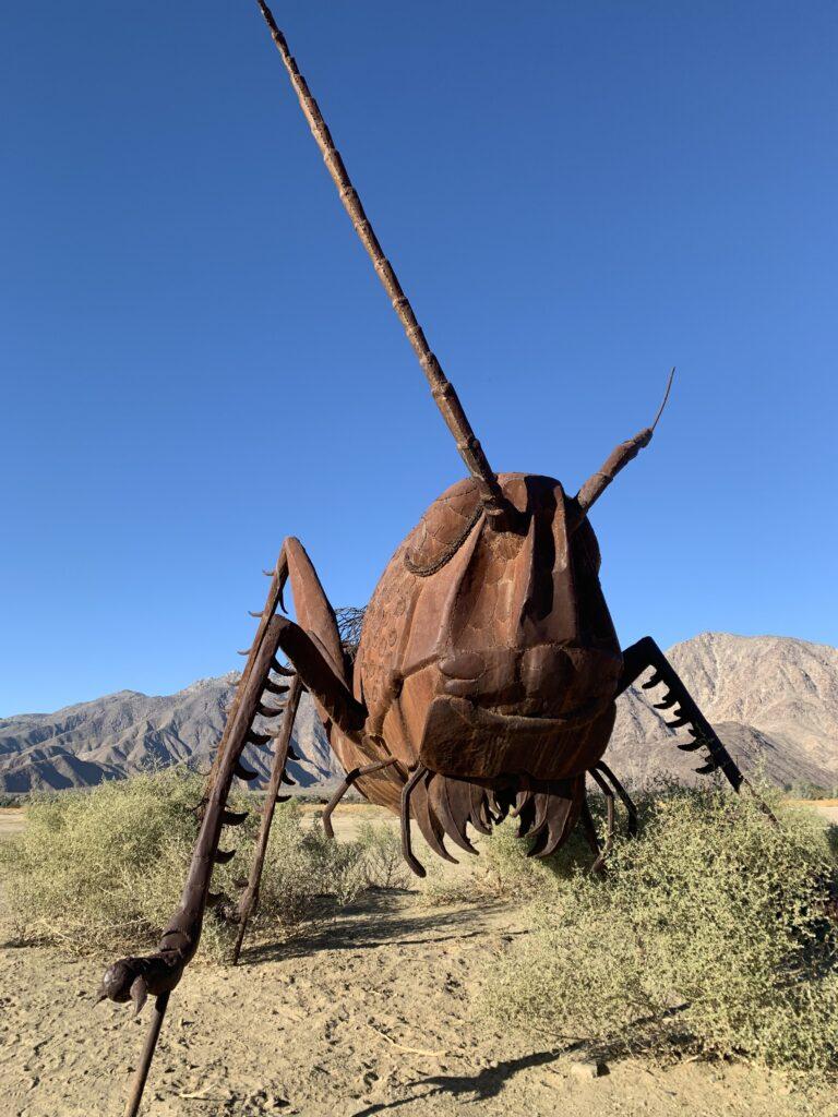 desert art in borrego springs grasshopper