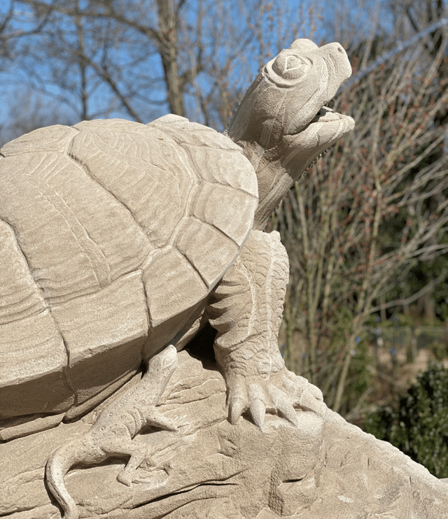 Best museums in Nashville for Kids - a turtle stone statue