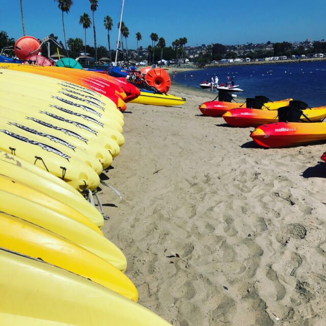 kayaks and boats for rent at campland on the bay