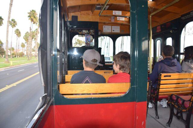 Santa Barbara Trolley Company car with two boys - The beautiful coastal city of Santa Barbara has lots of fun adult activities but there is a lot of fun to be had in Santa Barbara with kids!