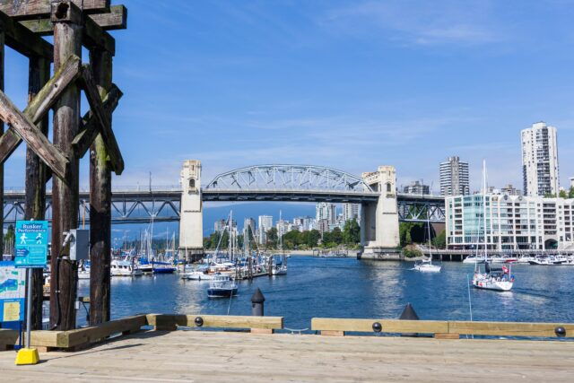 View of Granville Bridge, sailboats, and surrounding buildings.vancouver with kids how to spend the best long weekend family travel