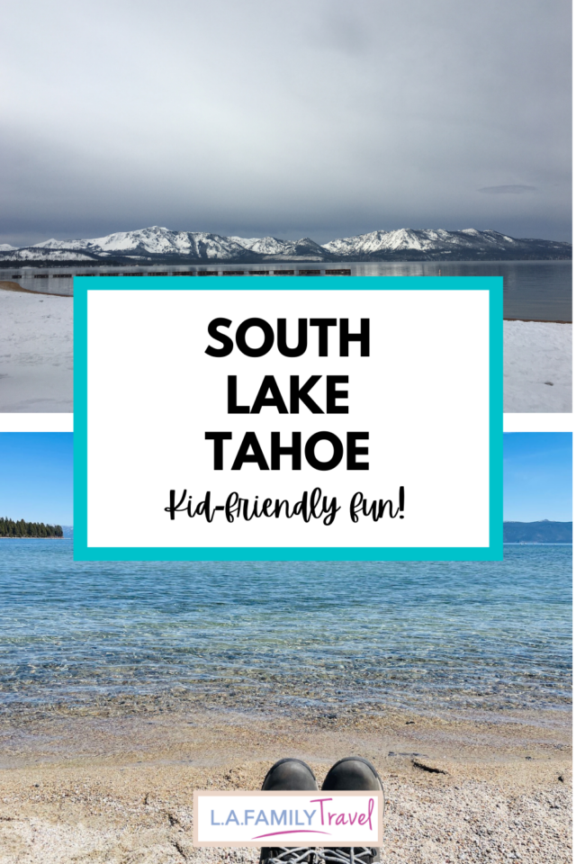 Top: Image of Lake Tahoe, during winter, with snow along the ground and atop mountains in the background. Bottom: Clear waters of Kiva Beach.7 Not To Miss Things To Do In South Lake Tahoe With Kids family travel activities fun