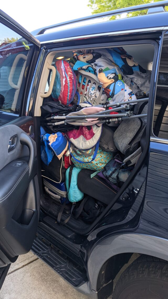 Our SUV packed to the roof with all the gear we needed for our crazy road trip adventure.