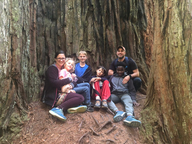 A family of 6 sits in the trunk of a Redwood after conquering their vacation anxiety together.