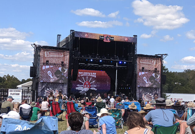 An audience at the outdoor Pilgrimage Music Festival in Franklin, TN during the fall. One of the best family activities in Franklin, Tennessee.